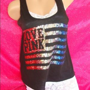 ✨PINK VICTORIA'S SECRET✨ Patriotic Sequin Tank